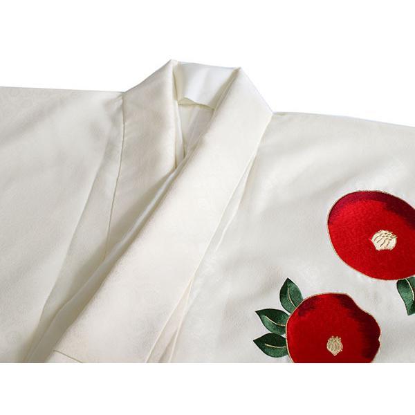卒業式 二尺袖 着物 袴用 単品 オフホワイト 赤 椿 刺繍 紋意匠 フリーサイズ 購入 販売 着物のみ 2尺袖 和装 和服 洗える着物 レディース 送料無料|kimono-kyoukomati|06