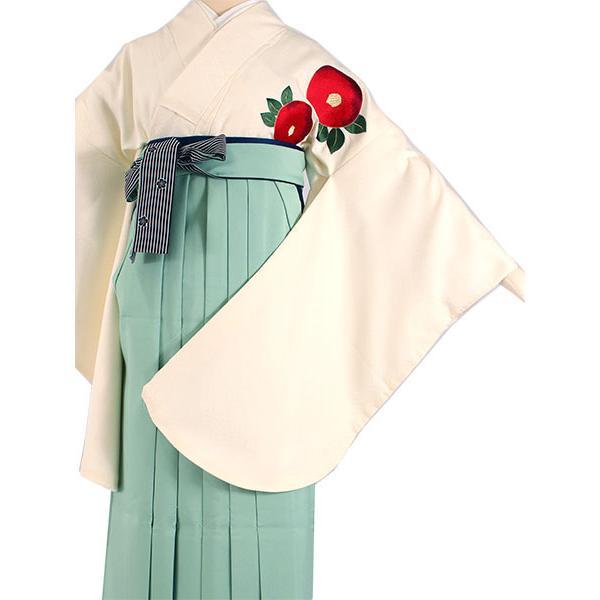 卒業式 二尺袖 着物 袴用 単品 オフホワイト 赤 椿 刺繍 紋意匠 フリーサイズ 購入 販売 着物のみ 2尺袖 和装 和服 洗える着物 レディース 送料無料|kimono-kyoukomati|09