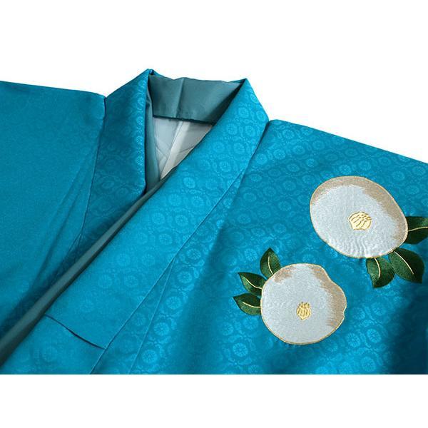 卒業式 二尺袖 着物 袴用 単品 エメラルドブルー 白 椿 紋意匠 フリーサイズ 購入 販売 着物のみ 2尺袖 和装 和服 洗える着物 レディース 送料無料 kimono-kyoukomati 06