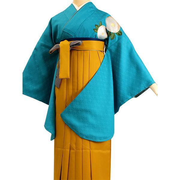 卒業式 二尺袖 着物 袴用 単品 エメラルドブルー 白 椿 紋意匠 フリーサイズ 購入 販売 着物のみ 2尺袖 和装 和服 洗える着物 レディース 送料無料 kimono-kyoukomati 09