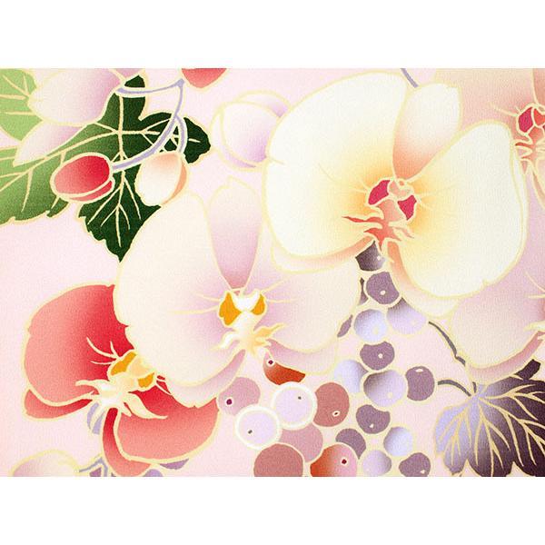 卒業式 二尺袖 着物 袴用 単品 絵羽柄 桃色 ピンク ぶどう 蘭 フリーサイズ 購入 販売 着物のみ 2尺袖 和装 和服 洗える着物 レディース 送料無料 kimono-kyoukomati 04