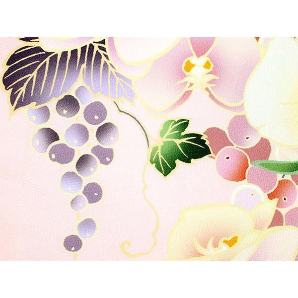卒業式 二尺袖 着物 袴用 単品 絵羽柄 桃色 ピンク ぶどう 蘭 フリーサイズ 購入 販売 着物のみ 2尺袖 和装 和服 洗える着物 レディース 送料無料 kimono-kyoukomati 05