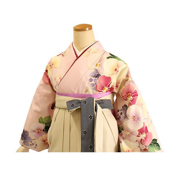 卒業式 二尺袖 着物 袴用 単品 絵羽柄 桃色 ピンク ぶどう 蘭 フリーサイズ 購入 販売 着物のみ 2尺袖 和装 和服 洗える着物 レディース 送料無料 kimono-kyoukomati 06