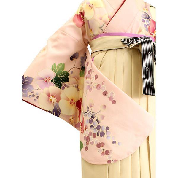 卒業式 二尺袖 着物 袴用 単品 絵羽柄 桃色 ピンク ぶどう 蘭 フリーサイズ 購入 販売 着物のみ 2尺袖 和装 和服 洗える着物 レディース 送料無料 kimono-kyoukomati 08