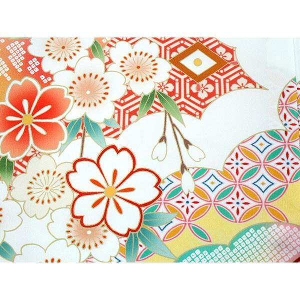 卒業式 二尺袖 着物 袴用 単品 絵羽柄 白 ピンク 薬玉 牡丹 鹿の子 フリーサイズ 購入 販売 着物のみ 2尺袖 和装 洗える着物 レディース 送料無料|kimono-kyoukomati|06