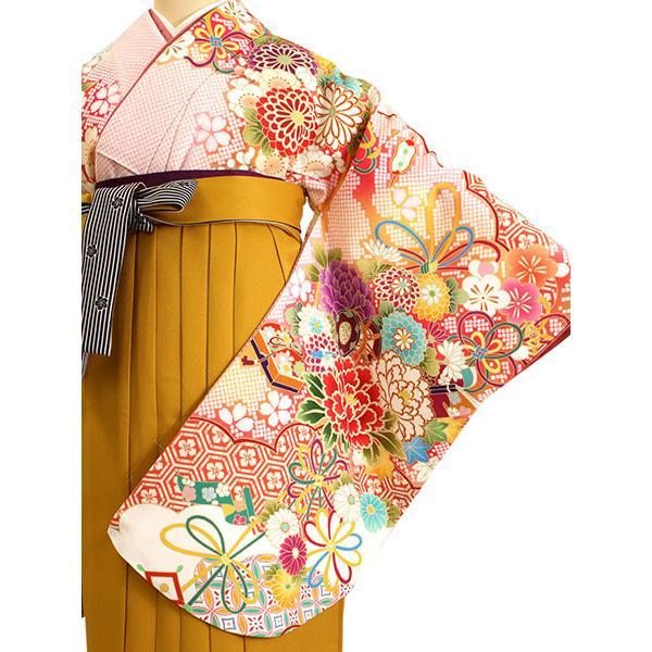 卒業式 二尺袖 着物 袴用 単品 絵羽柄 白 ピンク 薬玉 牡丹 鹿の子 フリーサイズ 購入 販売 着物のみ 2尺袖 和装 洗える着物 レディース 送料無料|kimono-kyoukomati|09