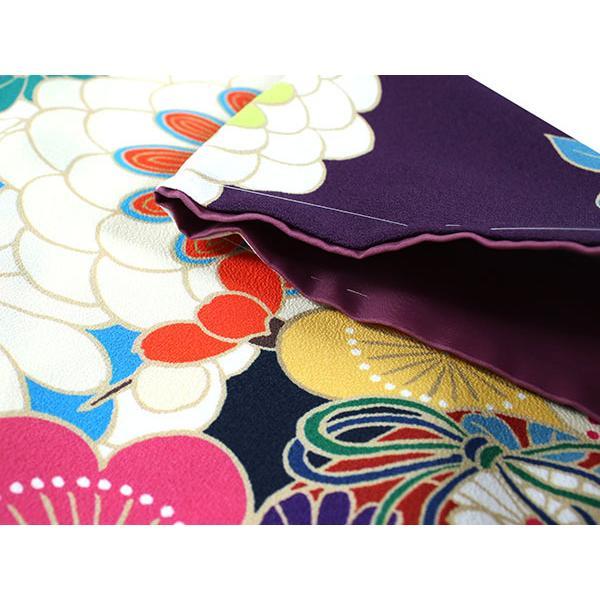 卒業式 二尺袖 着物 袴用 単品 絵羽柄 紫 濃紺 菊 梅 フリーサイズ 購入 販売 着物のみ 2尺袖 和装 和服 洗える着物 レディース 送料無料|kimono-kyoukomati|03