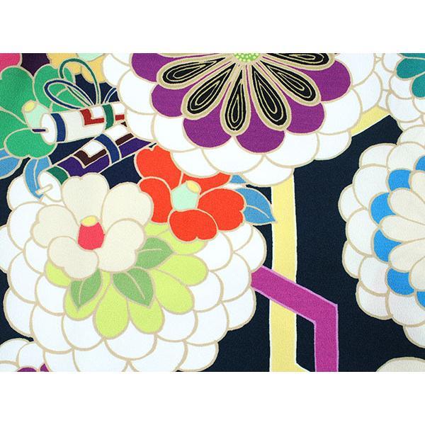 卒業式 二尺袖 着物 袴用 単品 絵羽柄 紫 濃紺 菊 梅 フリーサイズ 購入 販売 着物のみ 2尺袖 和装 和服 洗える着物 レディース 送料無料|kimono-kyoukomati|05