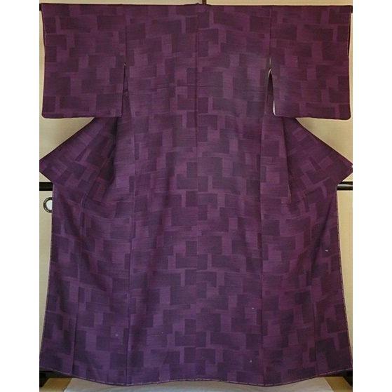 【新品・未使用】【小紋】【紋綸子】【仕付けアリ】プレタです!☆紫 石畳文様