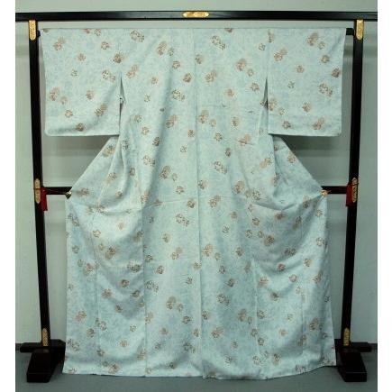 お仕立て上がり東レシルック着物 袷 0309梨乃景色 水色花柄