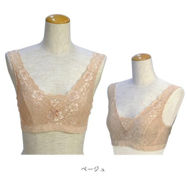 レースブラジャー 白 ベージュ 着物 和装 ブラジャー 大きな胸を平らに美しく 補整 着物用ブラジャー M L LL|kimonocafe-y|04
