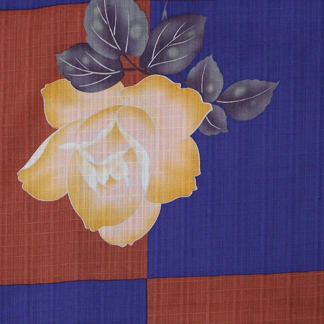 【LINE友達登録で10%OFFクーポン】浴衣 セット 2点セット 市松薔薇 ネイビー 麻 兵児帯 浴衣セット kimonocafe フリーサイズ|kimonocafe-y|03
