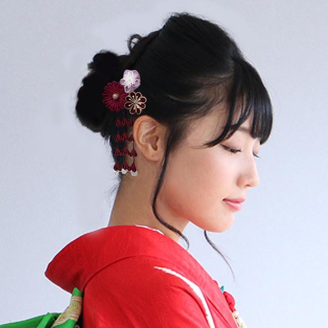 髪飾り つまみ細工  花 赤 黒 白 紫 成人式 振袖 七五三 kimonocafe-y 03