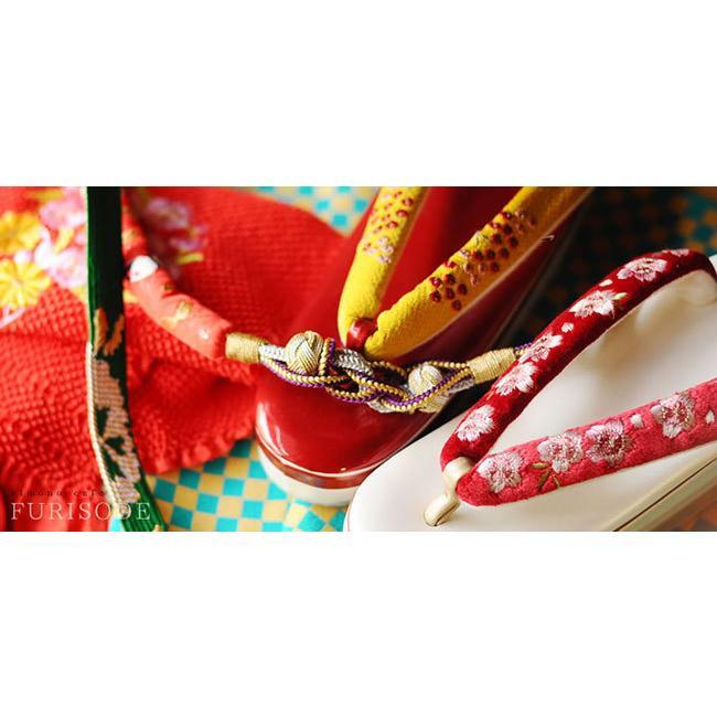 半衿 刺繍 七宝と梅 ちりめん 洗える 長め 振袖 成人式 ママ振 和婚 ブライダル 色打掛 赤 白 金 黒|kimonocafe-y|02