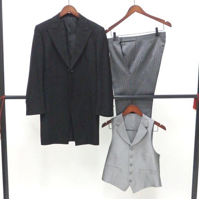 男礼服823 フロックコート サイズAB2 3点セット レンタル処分品 貸衣装 中古 リサイク  メンズ フォーマル 礼服 フォトウエディング kimonodoraku