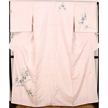 手織り紬 友禅訪問着 正絹 花柄 ki22369 仕立て上がり お出かけはお着物で
