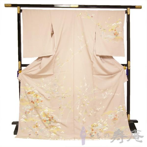 着物 特選訪問着 古典京友禅訪問着 卒業式 入学式 御所解に扇面文様 ピンク 絹100% 新品 未仕立 日本製