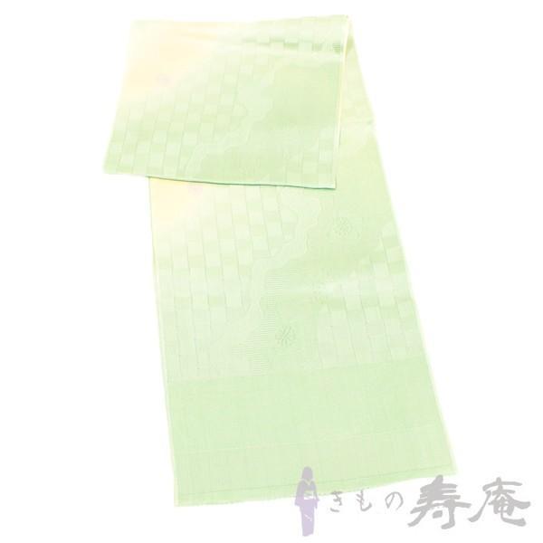 帯揚げ ブルーグリーン 綸子 流水にさくら柄 正絹 新品|kimonojyuan