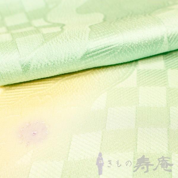 帯揚げ ブルーグリーン 綸子 流水にさくら柄 正絹 新品|kimonojyuan|02