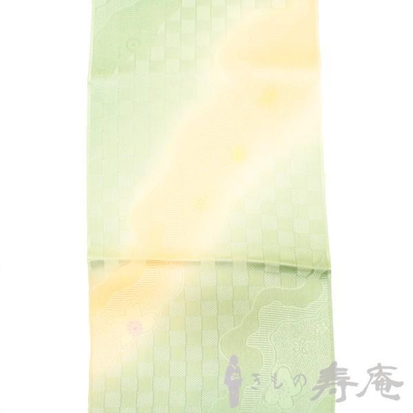 帯揚げ ブルーグリーン 綸子 流水にさくら柄 正絹 新品|kimonojyuan|03