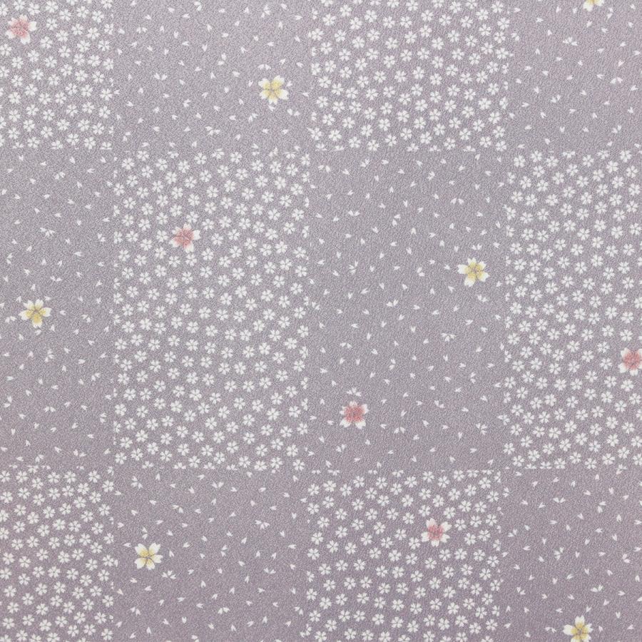 洗える着物 東レシルック 小紋 反物 着尺 市松さくら模様 うす紫 新品  未仕立|kimonojyuan|03