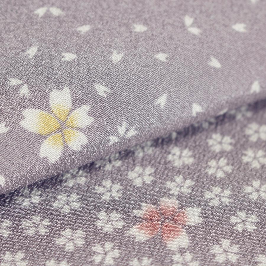 洗える着物 東レシルック 小紋 反物 着尺 市松さくら模様 うす紫 新品  未仕立|kimonojyuan|04