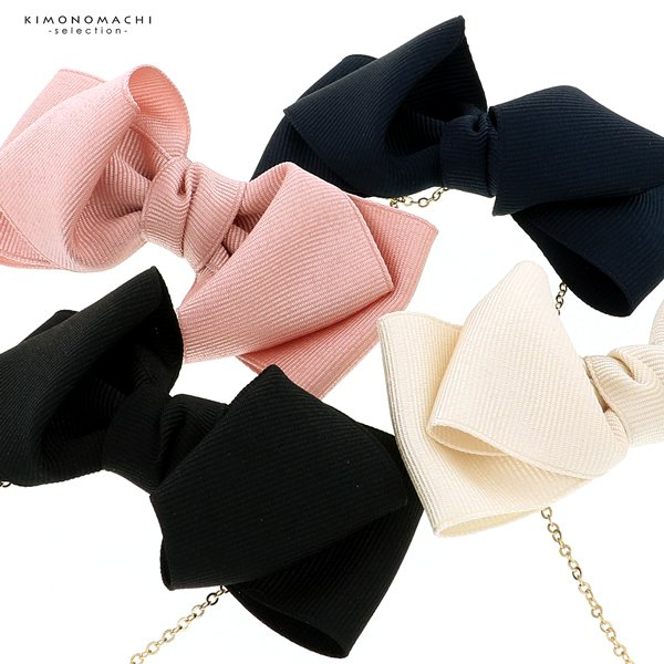 マスクバンド おしゃれ 耳が痛くならない 「リボン型 ブラック ネイビー ベージュ ピンク 全4色」 マスク ストラップ 髪飾り 耳紐 (メール便可)|kimonomachi|10
