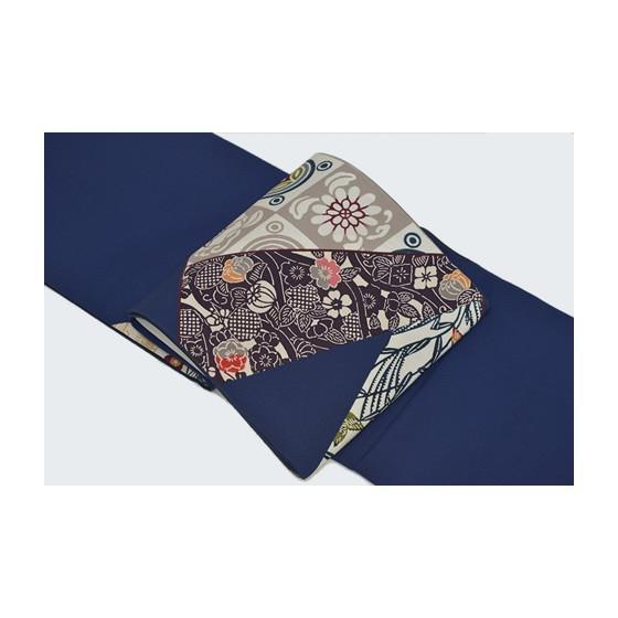 栗山吉三郎紅型染め「切ばめ」創作袋帯・紺色|kimonotanaka