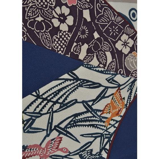 栗山吉三郎紅型染め「切ばめ」創作袋帯・紺色|kimonotanaka|03
