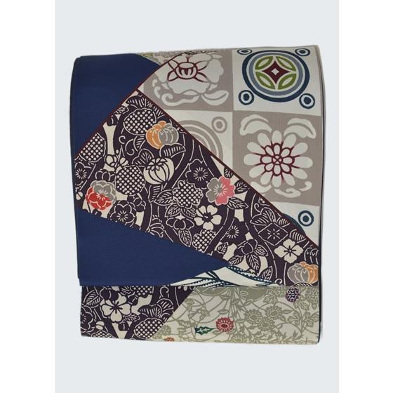 栗山吉三郎紅型染め「切ばめ」創作袋帯・紺色|kimonotanaka|05