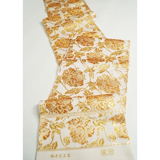 龍村美術織物 特選西陣織本袋帯「福寿花王文」白ベース金糸礼装袋帯|kimonotanaka|04
