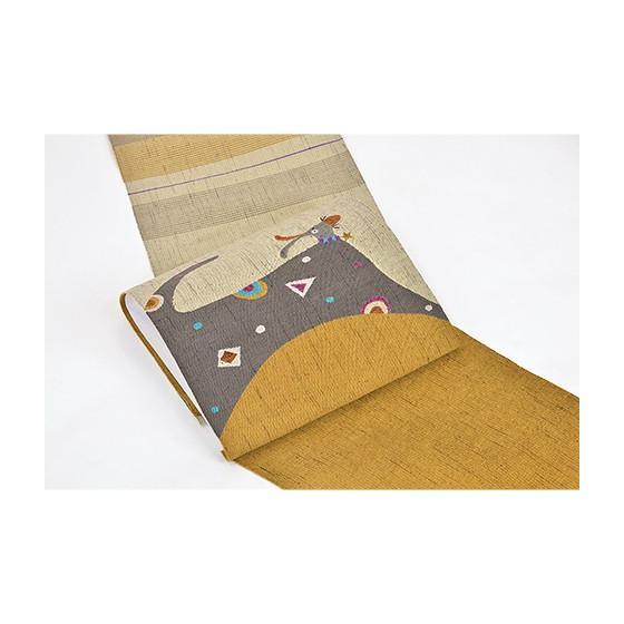帯匠丹波屋手織り八寸名古屋帯「星の首飾り」犬柄 kimonotanaka 02