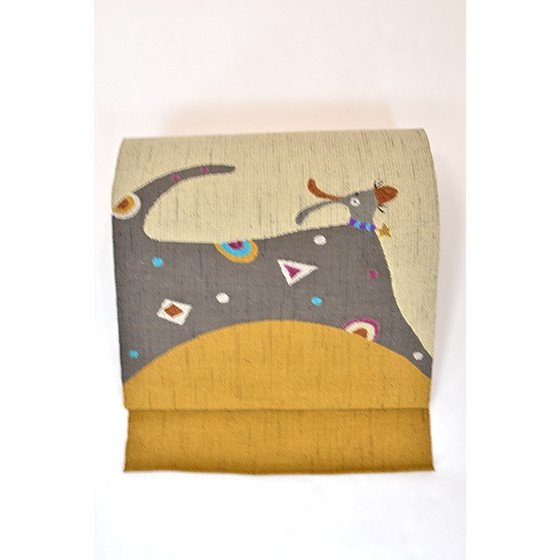 帯匠丹波屋手織り八寸名古屋帯「星の首飾り」犬柄 kimonotanaka 03