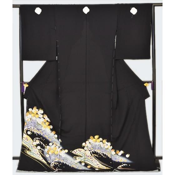 正絹京友禅黒留袖・小菊金駒刺繍 kimonotanaka