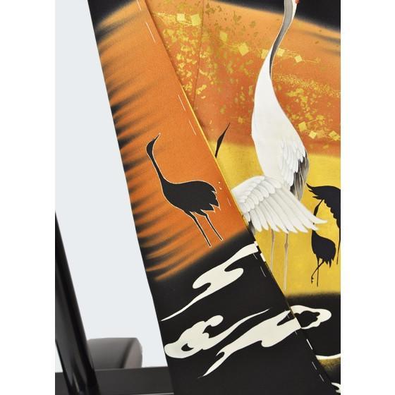京の老舗染匠「久保耕謹製」正絹手描き友禅逸品黒留袖・群鶴・泥金彩友禅 kimonotanaka 05