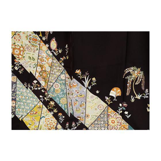 京の老舗 染の百趣矢野 謹製 東京友禅手描き逸品色留袖 「正倉院裂取り」濃茶 kimonotanaka 07