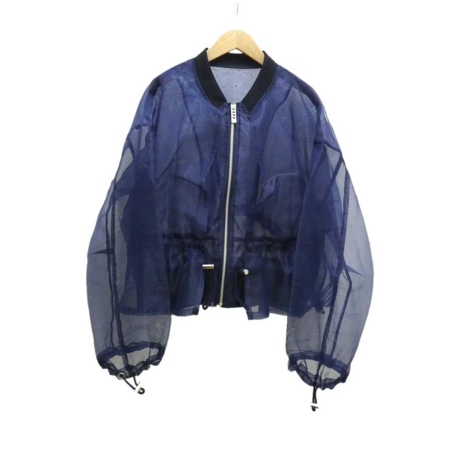 偉大な UN3D ギャザーオーガンジーブルゾン ネイビー サイズ:Free (堅田店) 191010, ファッションG c3acd249