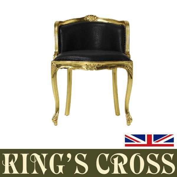 ギルティングゴールドフレームシングルチェア いす 椅子 チェア アンティーク調 クラシックスタイル ブラック 黒 本革 レザー 6090-10L6
