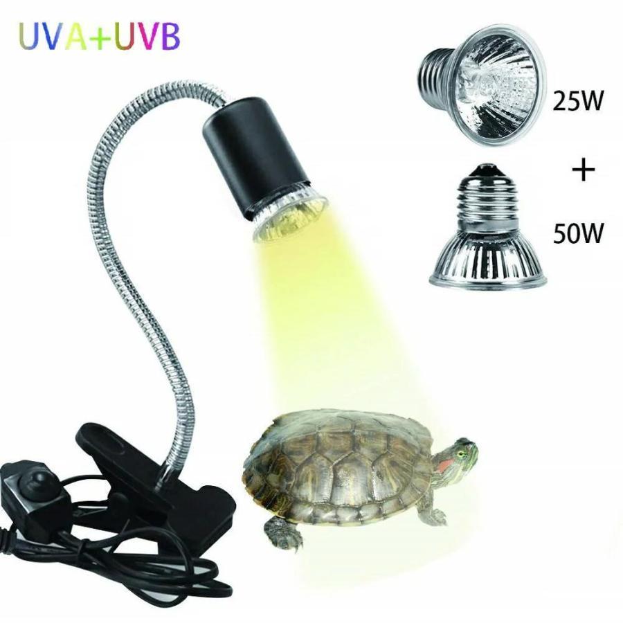 爆売り ライト 両生類用ライト 爬虫類 ライト蛇 亀ライト 25W+50Wアナログ太陽 おトク 熱帯 爬虫類ライト バスキングライト2つランプ付き UVA+UVBライト 亜熱帯