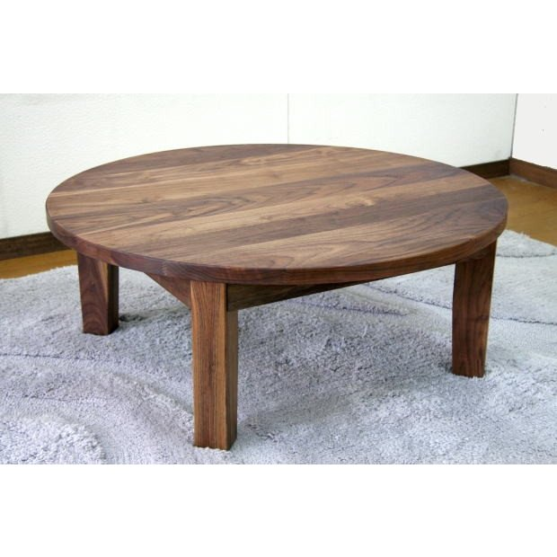 丸テーブル リビングテーブル 座卓 ちゃぶ台 つどい 天然木 ウォールナット 丸型 円形 90cm丸 手作り 自然塗料 オイル仕上げ 折れ脚