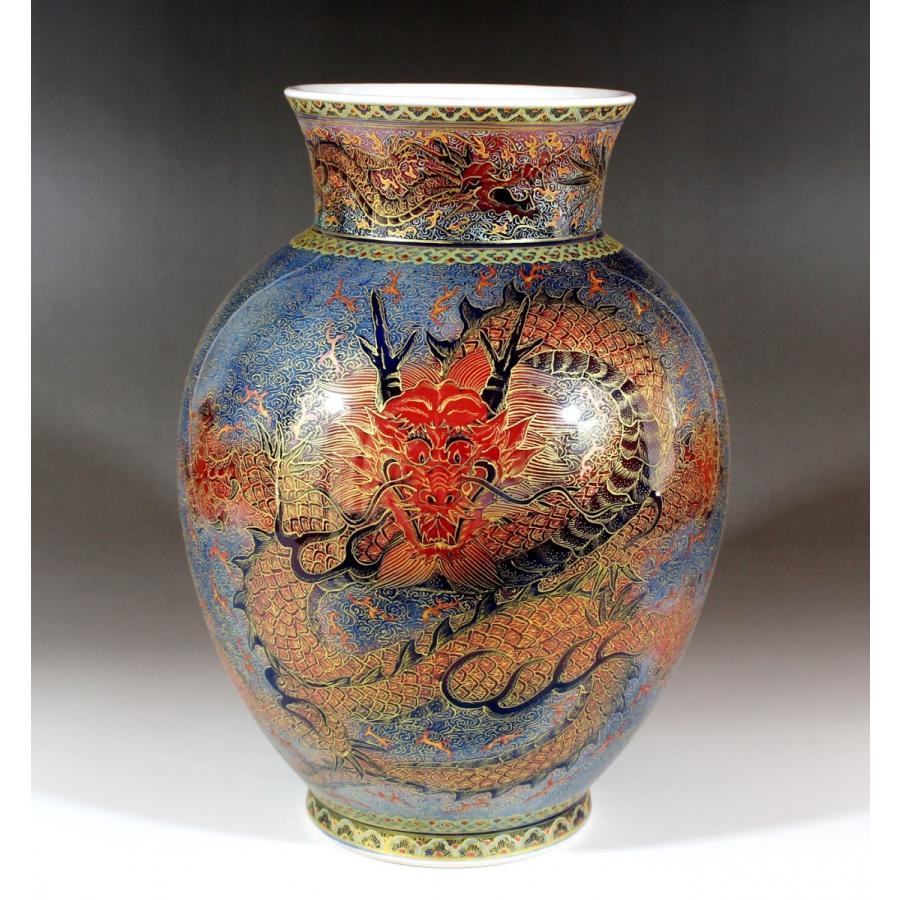 金襴手様式釉裏彩龍絵花瓶