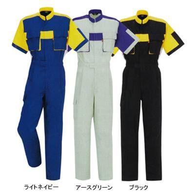 作業服 作業着 つなぎ DON 883 半袖ツナギ服 5L・アースグリーン4