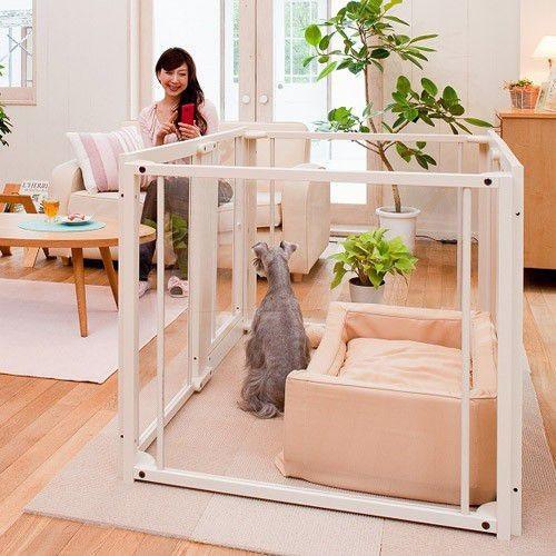 ペットサークル [ペット サークル F80L アクリル ] 木製 大型犬 サークル 多頭飼い 室内用 フリー扉付き 日本製