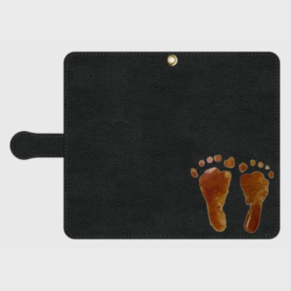 iPhone Android 手帳型 スマホケース オーダーメイド 黒革 Lサイズ 子供の絵手足型 チームロゴ ペット 写真 オリジナルデザイン|kira-bsmile