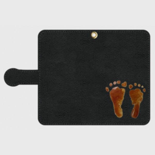 iPhone Android 手帳型 スマホケース オーダーメイド 黒革 M Sサイズ 子供の絵手足型 チームロゴ ペット 写真 オリジナルデザイン|kira-bsmile|02