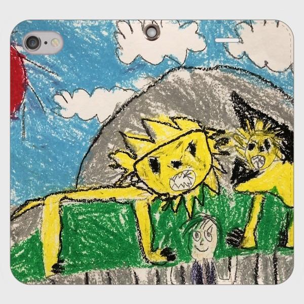 iPhone6s 6 手帳型 スマホケース オーダーメイド 帯無し 子供の絵 チームロゴ ペット 写真 オリジナルデザイン kira-bsmile