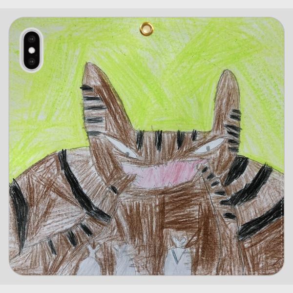 iPhoneXSMAX スマホケース オーダーメイド 手帳型 帯無し 子供の絵 チームロゴ ペット 写真 オリジナルデザイン|kira-bsmile