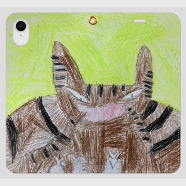iPhoneXR スマホケース オーダーメイド 手帳型 帯無し 子供の絵 チームロゴ ペット 写真 オリジナルデザイン kira-bsmile