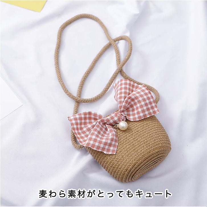 バッグ かごバッグ ショルダーバッグ キッズ 子供 女の子 キッズ用かごバッグ かわいい ガールズ リボン パール ビッグリボン おしゃれ kira-bsmile 03