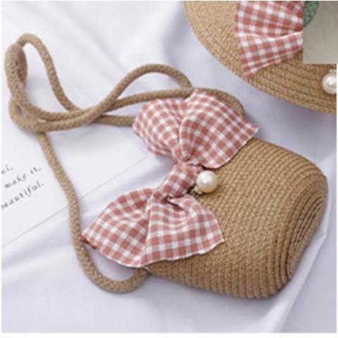 バッグ かごバッグ ショルダーバッグ キッズ 子供 女の子 キッズ用かごバッグ かわいい ガールズ リボン パール ビッグリボン おしゃれ kira-bsmile 09